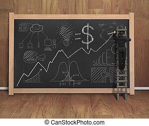 概念, ビジネス, 黒, 黒板, ビジネスマン, doodles, 図画