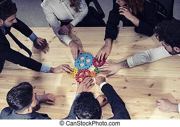 概念, ビジネス, above., 写真, 協力, 統合, 小片, チームワーク, 連結しなさい, チーム, gears.