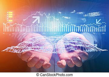 概念, ビジネス, -, forex, 取引, インターフェイス, データ, ホログラム, 未来派, 光景