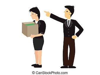 概念, ビジネス, retrenchment., employer., 専門家, 順序, 休暇
