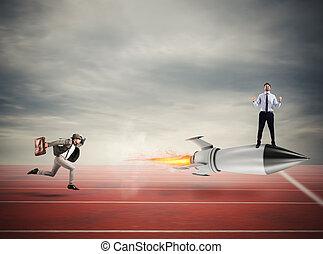 概念, ビジネス, rocket., 上に, 勝者, 速い, 競争, ビジネスマン
