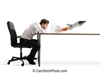 概念, ビジネス, rocket., 会社, 始動, 成長, 新しい, 始める