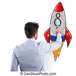 概念, ビジネス, rocket., 始動, 改善, 企業, ビジネスマン, 図画