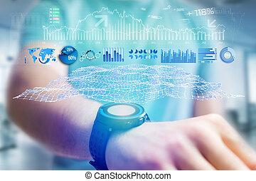概念, ビジネス, -, smartwatch, forex, 取引, インターフェイス, データ, 未来派