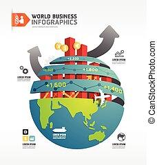概念, ビジネス, template.vector, infographic, デザイン, 世界