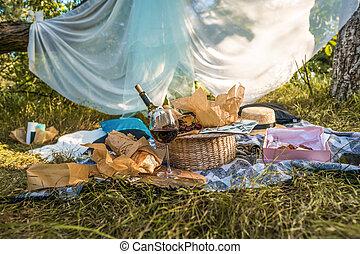 概念, ピクニックの食物, 公園, 昼食, 屋外で, 食事