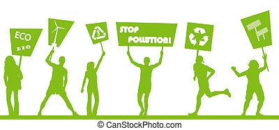 概念, ピケをはりなさい, pollution., に対して, エコロジー, 緑, v, 世界, 抗議