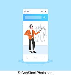 概念, フルである, によって, 選択, 技術, ヘッドホン, ワイシャツ, バーチャルリアリティ, 保有物, デジタル, 3d, 身に着けていること, 平ら, smartphone, 買い物, スクリーン, オンラインで, コントローラー, 人, 経験, 長さ, 人, augmented, ガラス