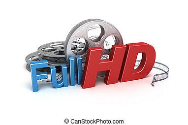 概念, フルである, hd, video., アイコン