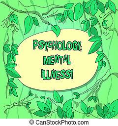 概念, ブランチ, 心理学, 色, テキスト, illness., 分散させる, 木, 包囲, 意味, 健康, 精神医学, ブランク, space., 手書き, 無秩序, 葉, 状態, 精神