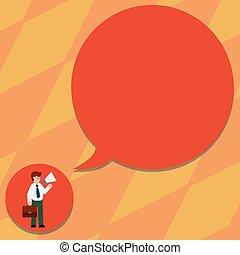 概念, ブリーフケース, ビジネス, スペース, 抽象的, 現代, コピー, ブランク, 届く, デザイン, 背景, ネクタイ, スピーチ, メガホン, 泡, 保有物, 空, 人