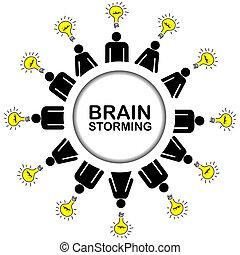 概念, ブレーンストーミング, 考え, 持つこと, 人々