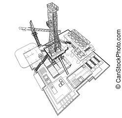 概念, プラットホーム, 油田採掘, 用具一式, 沖合いに