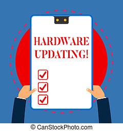 概念, プロセス, テキスト, フレーム, ハードウェア, 青, updating., 手掛かり, 2, 執筆, バージョン, 白, 持つ, 長方形, プロダクト, クリップボード, 取り替えること, 意味, newer, hands., 穴, 手書き