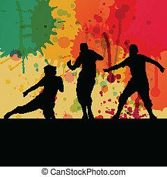 概念, ベクトル, シルエット, ダンス, 色, はね返し, 背景, 女の子