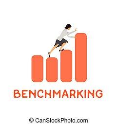 概念, ベクトル, benchmarking, ロゴ, アイコン
