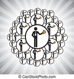 概念, ベクトル, graphic-, 人々, ネットワーク, 接続される, によって, のように, 手,...