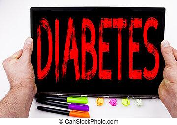 概念, ペン, ビジネスオフィス, スペース, マーカー, テキスト, 医学, タブレット, 病気, stationery., 書かれた, コンピュータ, インシュリン, 背景, 白, コピー, 糖尿病