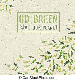 概念, ペーパー, リサイクルされる, ベクトル, 緑, 行きなさい, texture.
