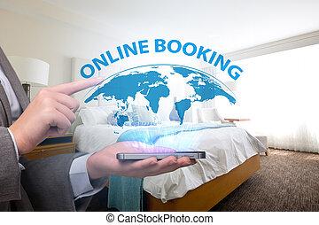 概念, ホテル, 予約, オンラインで