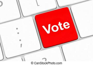 概念, ボタン, インターネット, コンピュータキーボード, 投票, 提示