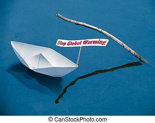 概念, ボート, 世界的である, 止まれ, ペーパー, メッセージ, 暖まること