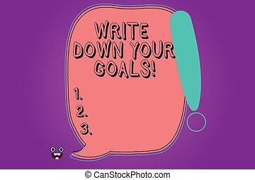 概念, ポイント, 色, テキスト, 下方に, ブランク, あなたの, 叫び, 作りなさい, 書きなさい, スピーチ, 目的, 泡, 独創力のある, モンスター, 概説された, 滞在, 意味, goals., 手書き, リスト, 顔, icon.