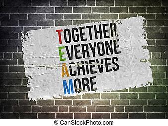 概念, ポスター, -, 一緒に, 目的を達する, everyone, もっと