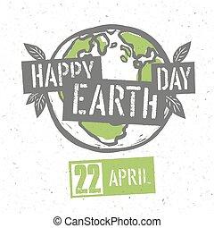 概念, ポスター, 印刷である, 手ざわり, シンボル。, day., リサイクルされる, ベクトル, デザイン, ペーパー, 地球, template.