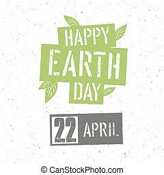 概念, ポスター, 印刷である, 手ざわり, leaves., day., リサイクルされる, ベクトル, 緑, ペーパー, 地球, デザイン, template.