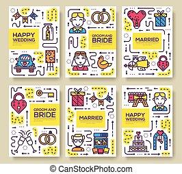 概念, ポスター, 印, banners., flyear, 雑誌, set., バックグラウンド。, 本, テンプレート, 幸せ, 招待, カバー, 結婚式, パンフレット, 線, 日, アウトライン, ベクトル, 結婚, 薄くなりなさい, タイムカード