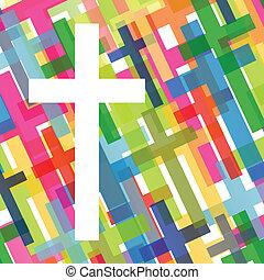 概念, ポスター, 抽象的, 交差点, イラスト, キリスト教, 宗教, ベクトル, 背景, モザイク