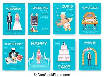 概念, ポスター, 現代, 印, banners., flyear, レイアウト, 雑誌, set., バックグラウンド。, 本, テンプレート, イラスト, 幸せ, 招待, カバー, 結婚式, パンフレット, 日, ベクトル, 結婚, タイムカード, ページ