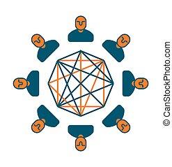 概念, マネージャー, ビジネスオフィス, コミュニケーション, 印。, 部門, icon., ミーティング, シンボル