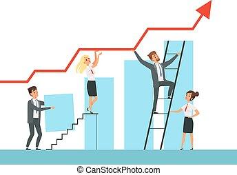 概念, マネージャー, ビジネス, の上, ∥(彼・それ)ら∥, ベクトル, 成長, 助言者, 特徴, チーム, 階段, リーダー, 建物。