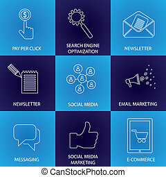 概念, マーケティング, アイコン, &, -, 媒体, インターネット商業, ベクトル, 社会, seo