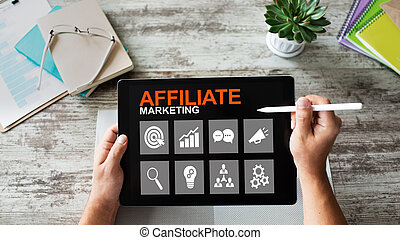 概念, マーケティング, ビジネス, screen., 事実上, affiliate, 技術