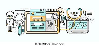 概念, マーケティング, analytics, 統計量, ビデオ, seo.