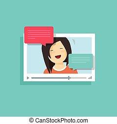 概念, メッセージ, プレーヤー, ビデオ, チャット, 技術, 窓, 女の子, 呼出し, オンラインで, 泡, オンラインで, 話すこと, 幸せ, 平ら, 談笑する, 話, インターネット, 漫画, スピーチ, イラスト, ベクトル, app