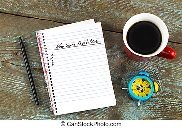 概念, メモ用紙, 元日, 書かれた, 年, pen., resolutions, 決断