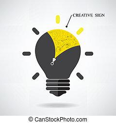 概念, ライト, 印。, 考え, 創造的, いたずら書き, 引かれる, 手, 電球