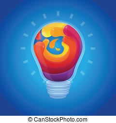 概念, ライト, 抽象的, -, ベクトル, 創造性, 電球