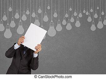 概念, ライト, 提示, 考え, 創造的, 本, デザイン, 電球, ビジネスマン, 図画
