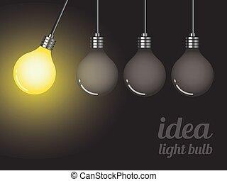 概念, ライト, 考え, イラスト, ベクトル, 電球
