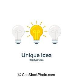 概念, ライト, 考え, イラスト, 隔離された, idea., バックグラウンド。, 明るい, ベクトル, 白, 独特, bulb.