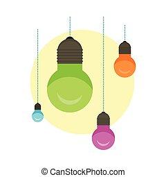 概念, ライト, 考え, バックグラウンド。, 白熱, 電球