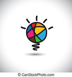 概念, ライト, -, 考え, 創造的, ベクトル, 電球, アイコン