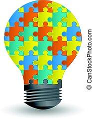 概念, ライト, 考え, 創造的, 電球, design.