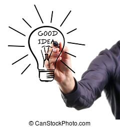 概念, ライト, -, 考え, 手, よい, 電球, 図画