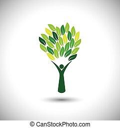 概念, ライフスタイル, カラフルである, 人々, eco, -, 木, vector.